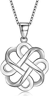 GOXO Collar con Colgante de Cruz de Nudo Celta Pulido de Buena Suerte de Plata de Ley 925 para Mujer