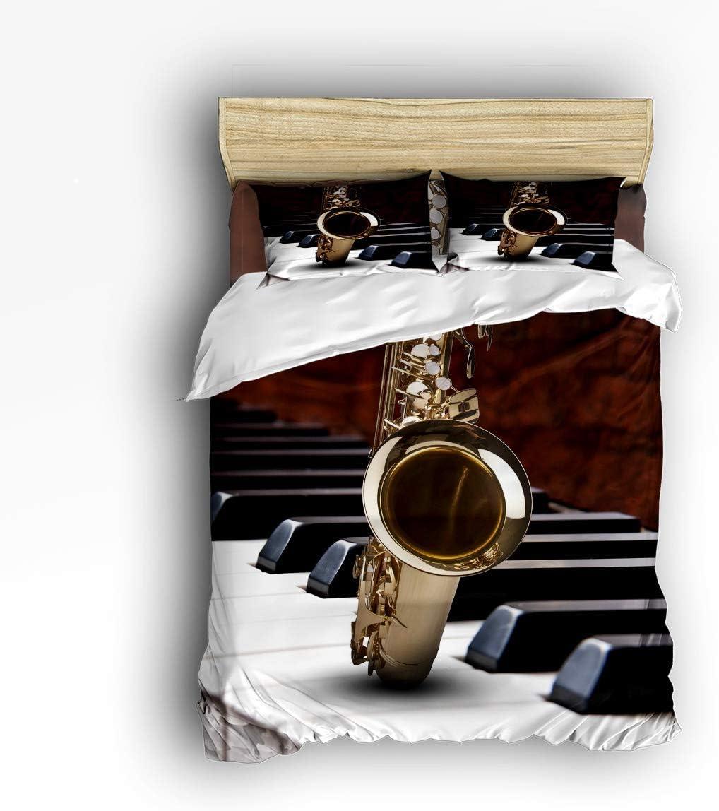 Meet 1998 Luxury 4-Piece Bedding Decor OFFer Set Music Saxophone Super beauty product restock quality top! Jazz