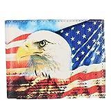 CTM Men's Vegan Leather Eagle American Flag Print Bifold Wallet, Eagle