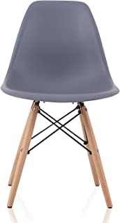 CozyBlock DSW-DGRY-2 Dining Shell Chair with Birch Wood Eiffel Legs, 20
