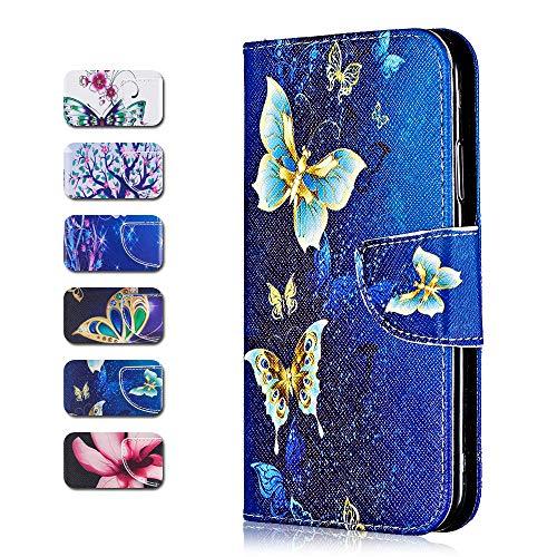 Sony Xperia L2 Hülle, CAXPRO® PU Leder [TPU Innere] Schutzhülle, Brieftasche Handyhülle für Sony Xperia L2 mit Standfunktion und Magnetverschluss - Schmetterling #4