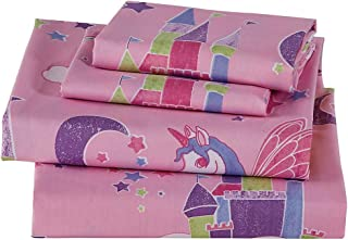 Luxury Home Collection 4 Piece Full Size Sheet Set for Girls/Teens Unicorn Castle Rainbow Clouds Moon Shining Stars Lavender Pink Blue Yellow (Full Sheet)