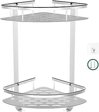 【Bathroom Corner Shelf】No Drilling 2 Tier Corner Shower Caddy,Durable Aluminum Shower Rack, 2 Ways Corner Shower Shelf, Shower Organizer with Adhesive Hooks, Kitchen Storage Basket,Corner Storage Hold