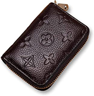 Auner Women RFID Blocking Credit Card Holder Leather Cute Small Zipper Wallet