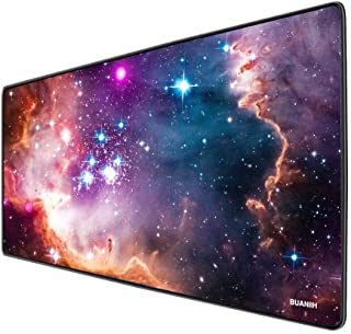 "BUANIIH Galaxy Gaming Mouse Pad XL, Extended Large Mouse Mat Desk Pad, Stitched Edges Mousepad, Long Non-Slip Rubber Base Mice Pads (27.6""x11.8""x0.12"")"