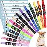 14 PCS Puppy Collars for Litter Puppy ID Collars Whelping Puppy Collars Safety Buckle Soft Nylon Breakaway Collars with 6 Record Keeping Charts(S)