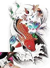 Novu Ink Color Koi Temporary Tattoos | PACK OF 2 | Fake Tattoos | Art Design Transfers/Stickers | For Body, Arm, Leg etc. | (21cm x 14cm)