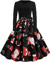 NANTE Top Loose Women's Dress Christmas Santa Claus Print Dress Zipper Hepburn Party Dresses Christmas Day Skirt Party Dress
