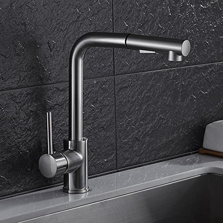 CZOOR Küchenarmaturen aus Messing gebürstet Silber-Badezimmer-Bassin-Hahn-Pull-Out-Einhand-Wannen-Mischer-Hahn-Hot Cold Water Deck montiert