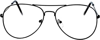 Aviator Clear Lens Premium Metal Sunglasses Men's Women's Non-Prescription OWL
