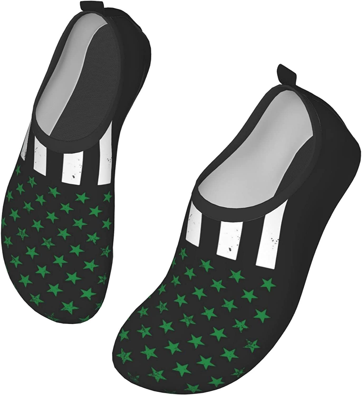 O-X_X-O Men/Women Aqua Shoes Water Socks - Irish American Flag Shamrock - for Barefoot River Swim Beach Yoga Pool Sneaker Quick-Dry Vacation Essentials