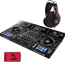 Pioneer DDJ-RZX Professional 4-Channel DJ Controller with MHPRO10 Full Range Professional Monitoring Headphones and Pitbull Audio Microfiber Cloth.