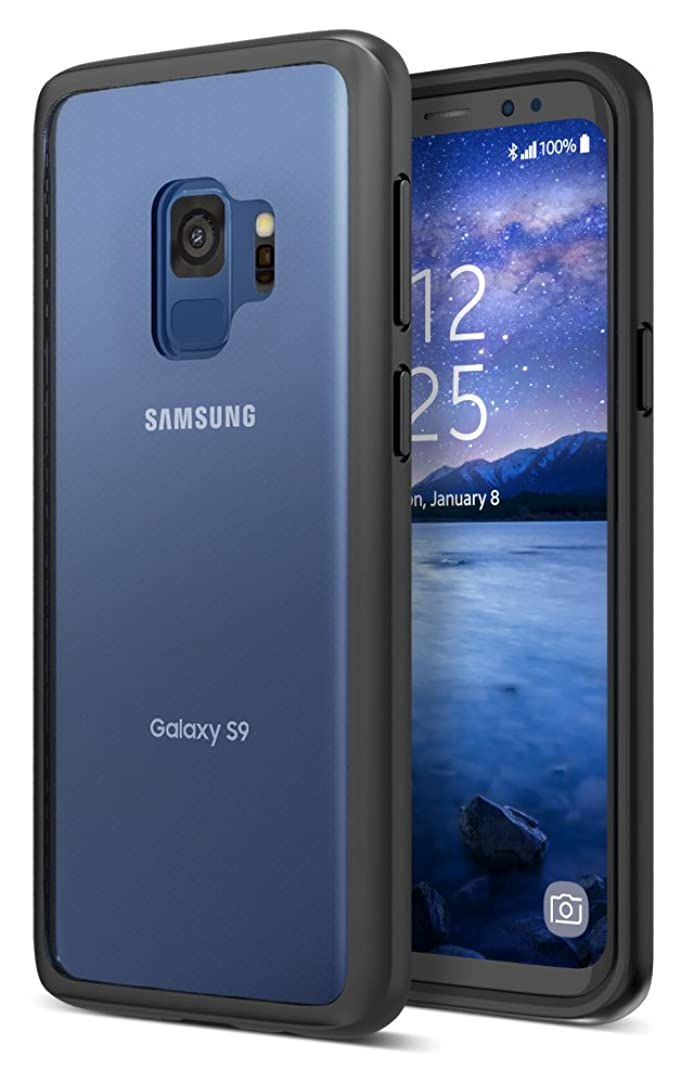 Maxboost Galaxy S9 Case HyperPro Series with Heavy Duty GXD-Gel Protection [Black/Clear] Enhanced Hand-Grip TPU Cushion Frame + Transparent Hybrid S9 Cover for Samsung Galaxy S 9 Phone (2018)