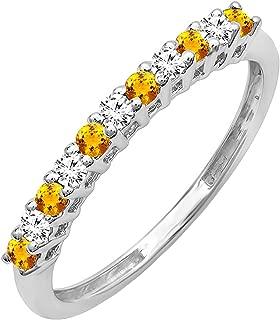 Dazzlingrock Collection 10K Round Gemstone & White Diamond Anniversary Stackable Wedding Band, White Gold