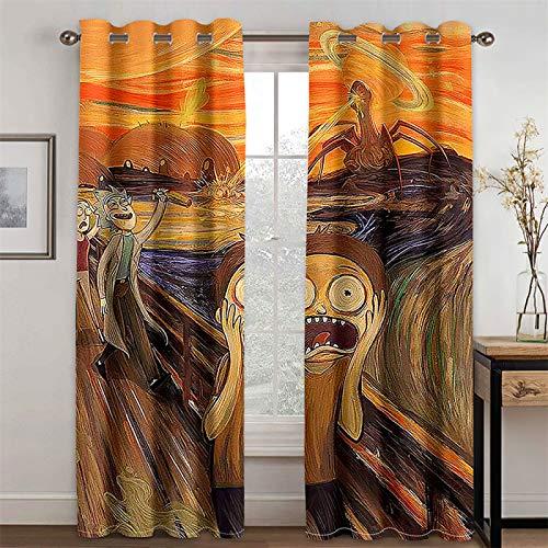 YUNSW Cortinas 3D De La Serie Amarilla, Cortinas Decorativas De Sombreado Y Reducción De Ruido para Sala De Estar Y Dormitorio, Juego De 2 (Total Width) 234x(Height) 230cm