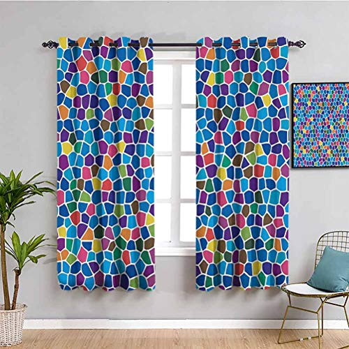 Modern Decor Light Blocking Curtains for Living Room Vivid Rainbow Colored Mosaic Design Shapes in Blue Yellow Green Orange Red Art Daily use W84 x L84 Inch Multicolor
