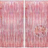 2個セット BRAVESHINE タッセルカーテン キラキラ 背景 明るい光沢 誕生日 飾り付け 100cm 250cm パーティー 装飾 結婚式 用 パーティーデコレーション (ローズゴールド)
