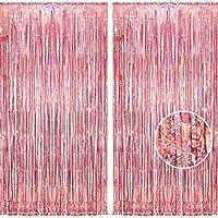 2個セット BRAVESHINE タッセルカーテン キラキラ 背景 明るい光沢 誕生日 飾り付け 100cm*250cm パーティー 装飾 結婚式 用 パーティーデコレーション (ローズゴールド)