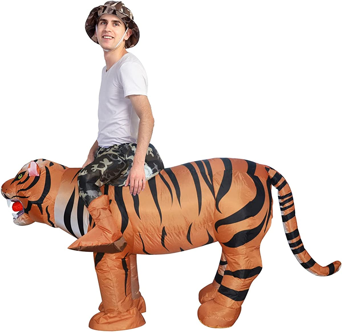 GOOSH Adult Size Inflatable Tiger Unisex Costume Blow Up Men Women Riding a Tiger Deluxe Halloween Funny Costume Godzilla Toy