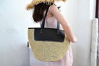 7a2c8f7cee HZTDDA Crochet Femme Une-Épaule Paille Sac Plage PU Sac Bouche Vacances  Voyage Coréen Casual