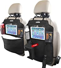 oasser Kick Mats Car Seat Back Protectors Back of Seat Organizers 2 Pack XL with 1 Tissue Box Clear 10 inches Ipad Holder 3 Large Storage Organizers