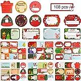 Adesivo per sigilli natalizi, 12 fogli 108 pezzi Adesivo autoadesivo fai-da-te Decorazione per sigillature regalo, Etichetta di imballaggio per cuocere paster Merry Chistmas per forniture