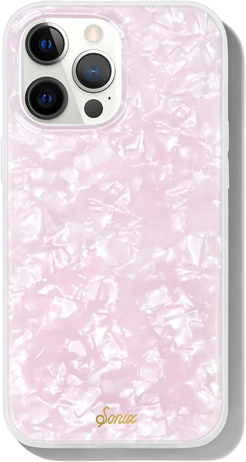 Sonix Pink Pearl Tort Case for iPhone 13 Pro Max [10ft Drop Tested] Translucent Iridescent Pink Marble Cover for Apple iPhone 13Pro Max