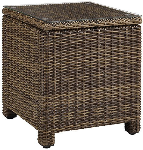 Crosley Furniture Bradenton Outdoor Wicker Rectangular Side Table with Glass Top - Weathered Brown