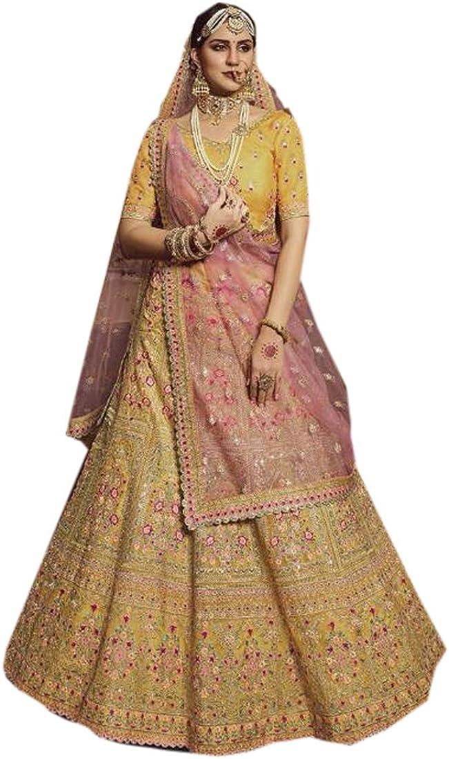Yellow Organza Indian Bridal Heavy Gota & Thread Lehenga Choli Dupatta Royal Wedding Reception Bride