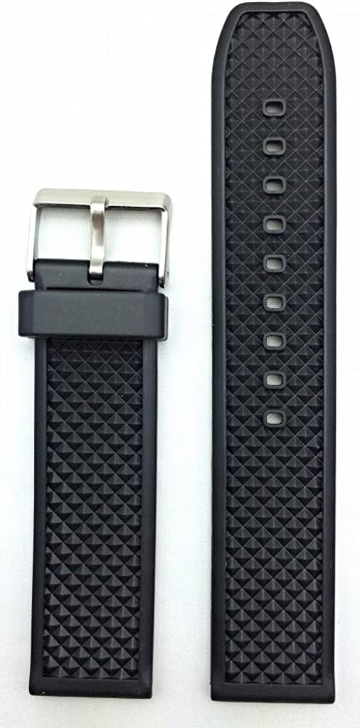 24mm Black Rubber PVC Material and Band Watch Comfortable Dura Max 53% 5 ☆ popular OFF