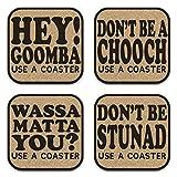 Funny New York Italian Sayings Coaster Set of...