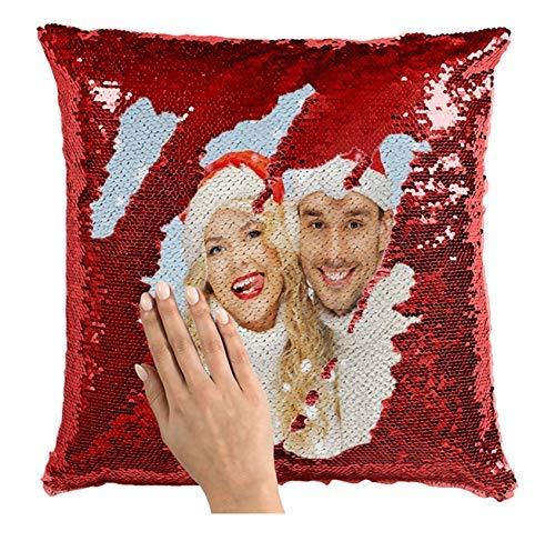 LIWEIXKY Almohada de Lentejuelas Personalizada con Tus Fotos, Funda de cojín Decorativa mágica Reversible de Sirena Regalos Personalizados Rojo