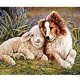 DIY「Sheep and puppies」Pintar por números para adultos Niños Kits de pintura digital por números El mejor juego para padres e hijos Sin marco -40x50cm