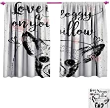 Funny Words Thermal Insulating Blackout Curtain Love Quote About Dogs Friendly Puppy with Hearts Grungy Calligraphy Blackout Draperies for Bedroom W72 x L63 Black White and Blush