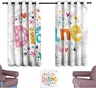 Mannwarehouse Diane Novel Curtains Festive Baby Girl Name Set of Two Panels 72