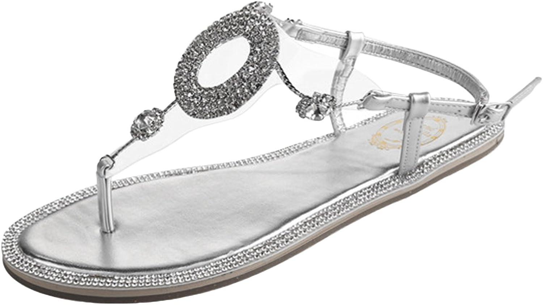 ONCEFIRST Women's Rhinestone Summer Sandals Bohemia Flats Thongs