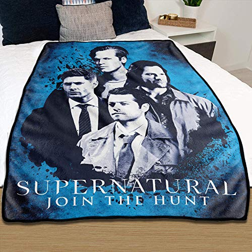 JUST FUNKY Supernatural Blanket [Blue 45 x 60 inches], Feat. Dean Winchester, Sam Winchester, Castiel and Lucifer, Plush Fleece Throw, Supernatural Bedding Gift Blankets (Officially Licensed)
