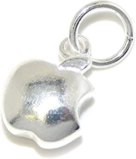 Solid 925 Sterling Silver Dangling Apple Charm Bead