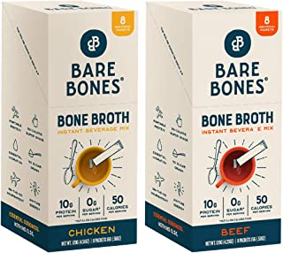 Bare Bones Bone Broth Instant Powdered Beverage Mix, Variety, 10g Protein, Keto & Paleo Friendly, 15g Sticks, 8 Ct Beef an...