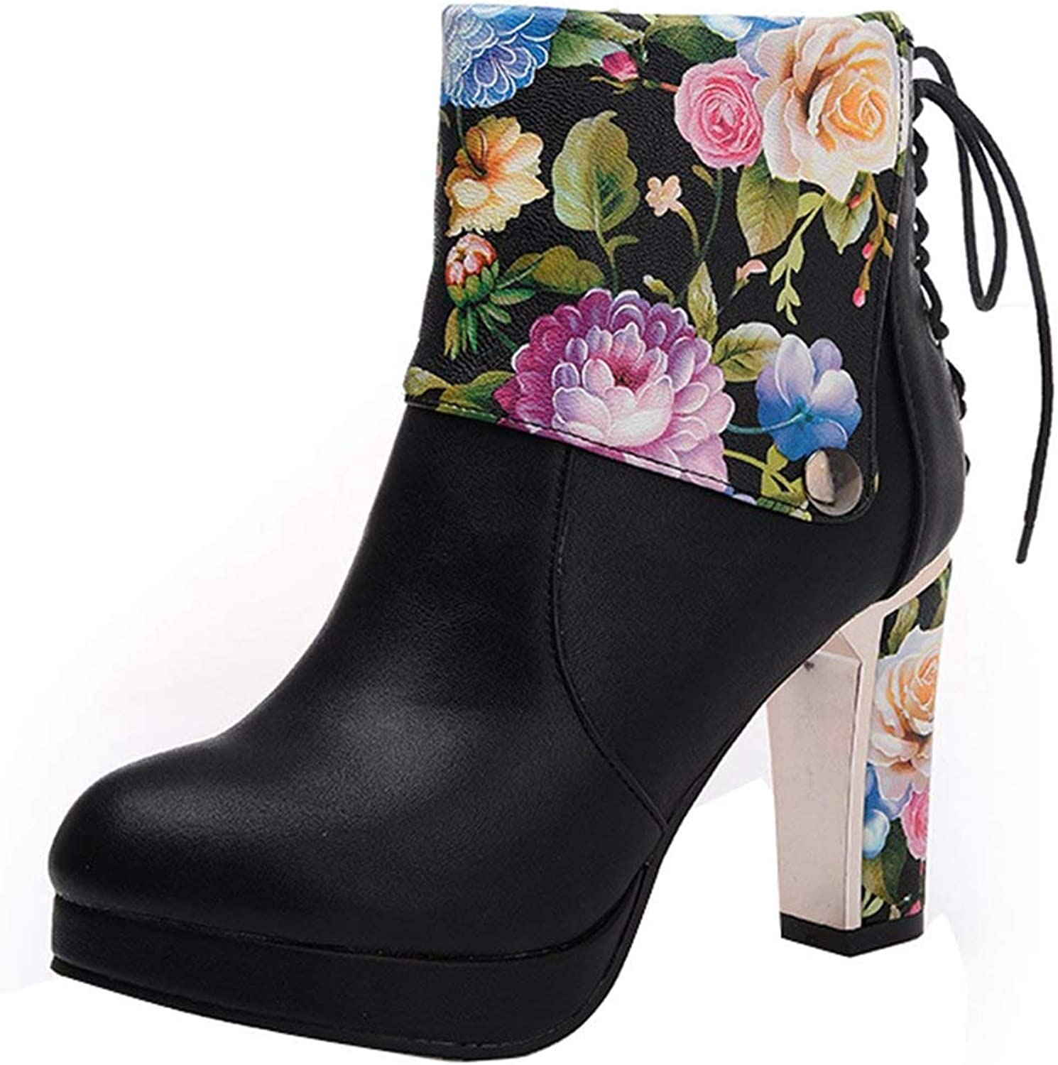 Vitalo Women Chunky Platform High Heel Ankle Boots Zip Lace Up Flower Print Booties