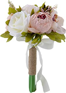 One Boat Wedding Bouquet Bridal Romantic Artificial Silk Peony Rose Flower Bouquet for Bride Bridesmaid Holding Flower