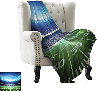 Travel Throw Blanket Football,Photo of American Stadium Green Grass Arena Playground Bleachers Event Match,Blue Green White Flannel Blankets Super Soft Warm Thick Blanket for Home 30