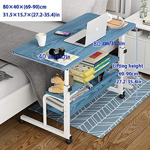 Stahlrohr Tablet Halter mit Blaues MDF,Höhenverstellbar, Abschließbare Rollen, 3 Lagerschichten,Beistelltisch Quadratisch für Hospital Home Office Study
