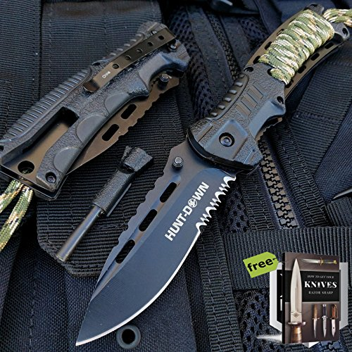 """8"""" HUNT DOWN CAMPING Spring Assisted Knife - OPEN TACTICAL POCKET Carbon Steel Sharp Blade Knife + FIRE STARTER + Free eBook by SURVIVAL STEEL"""