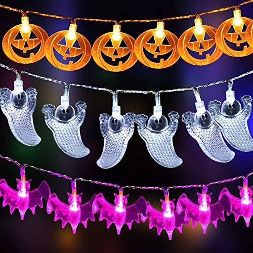 Luces de Halloween espeluznantes,Luces de cadena de calabazas,Luces de cadena de Halloween,Luces de halloween,Luces de Cadena de Calabaza,Decoraciones de Halloween Luces LED (3 set)