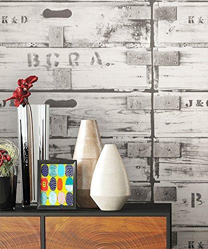 NEWROOM Houtbehang behang wit houten kisten hout landhuis vliesbehang grijs vliesbehang natuurlijk hout vintage incl. behanggids