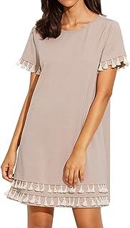 Romwe Women's Short Sleeve Summer Loose Tunic Casual Tassel Dress