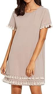 Women's Short Sleeve Summer Loose Tunic Casual Tassel Dress