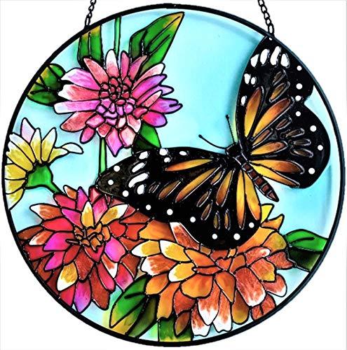 Colgantes decorativos de vidrio de tinte hecho a mano | grande redondo de 10 pulgadas de diámetro | Mariposa atrapasueños pintados a mano | Decoración hecha a mano para ventana...