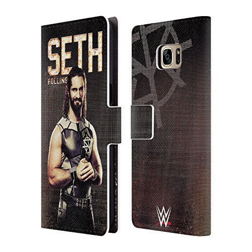 Head Case Designs Offizielle WWE Seth Rollins Superstars Leder Brieftaschen Huelle kompatibel mit Samsung Galaxy S7 Edge